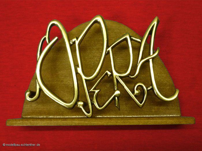 Serviettenhalter/Briefständer mit Logo der Konditorei OPERA Regensburg